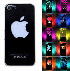 New Arrival For Apple iPhone 5 5S LED LCD Color Changed Sense Flash light Case Cover