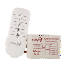 220 V 3 canales Way Wireless hogar de la lámpara de pared del pasillo caja del divisor del interruptor Durable