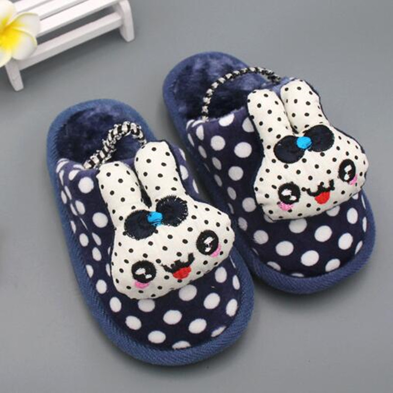 2016 new brand winter Children slippers kids indoor thick cotton shoes baby girls boys cute cartoon rabbit Home warm slippers(China (Mainland))