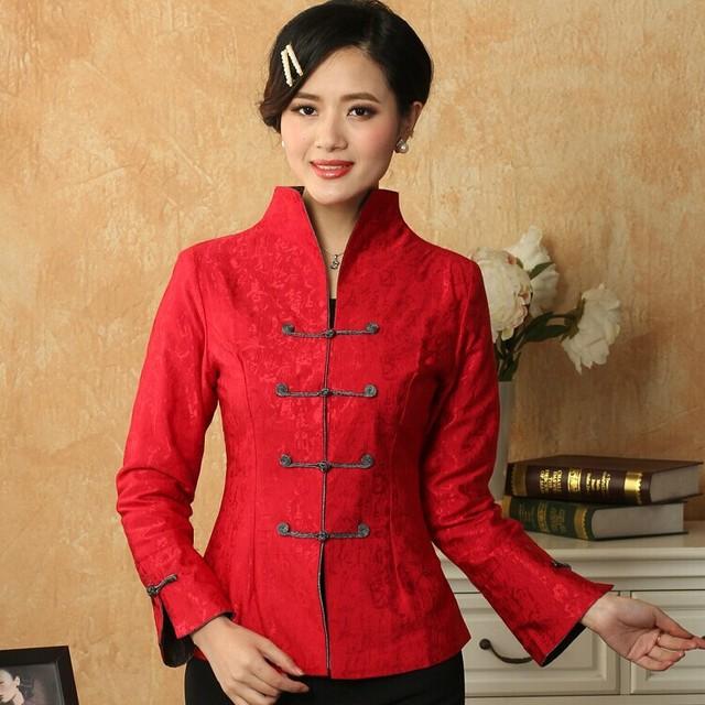 Новый красный женская белье хлопок куртка китайская традиционная тан костюм мандарин ...