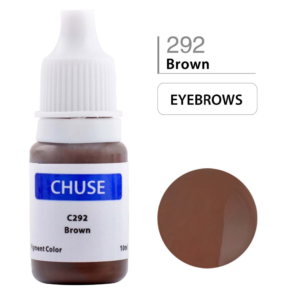 CHUSE Permanent Makeup Ink Professional Micro Eyeliner Tattoo Ink Set Eyebrow Microblading Pigment Brown 292 10ML Dermatest