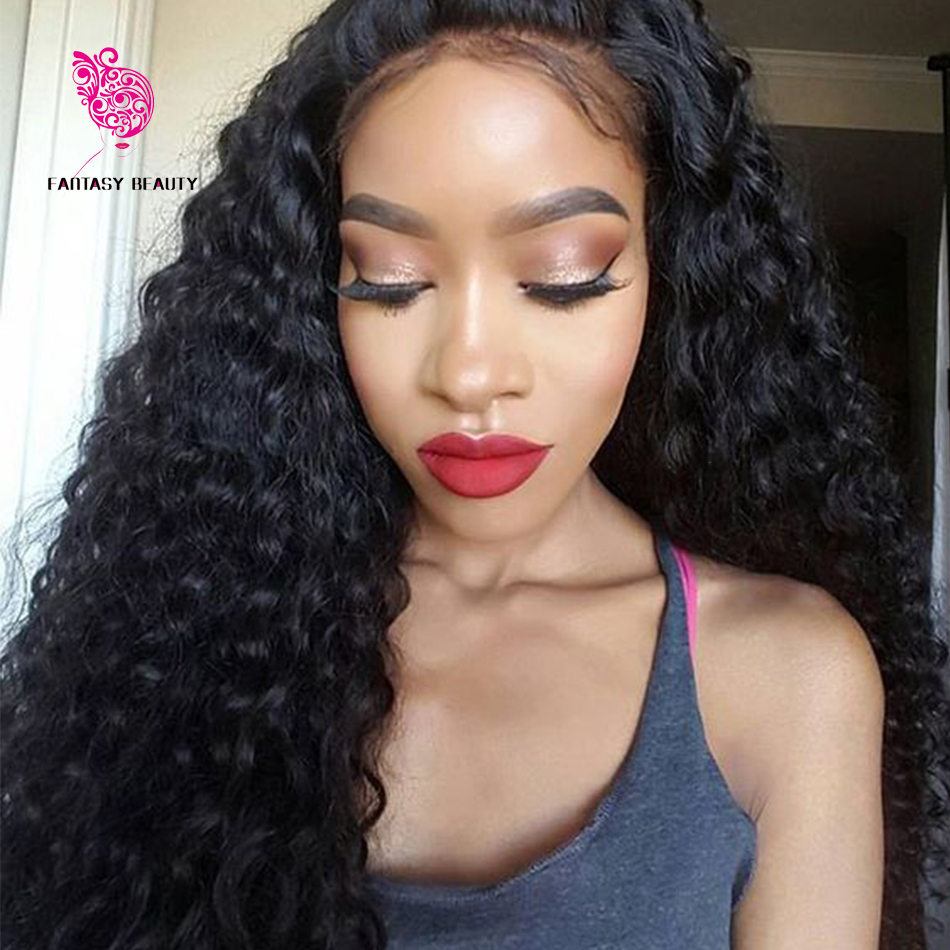 180 Density Glueless Full Lace Wigs Brazilian Virgin Hair Deep Curly Lace Front Wigs With Baby Hair Natural Hairline For Women(China (Mainland))