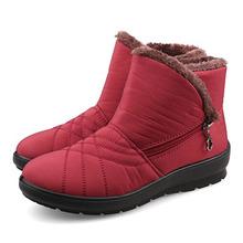 Nuevas mujeres patean 2015 thcik felpa caliente botas de nieve impermeables mujeres moda zipper tobillo de arranque zapatos de invierno mujeres de gran tamaño 36-42(China (Mainland))