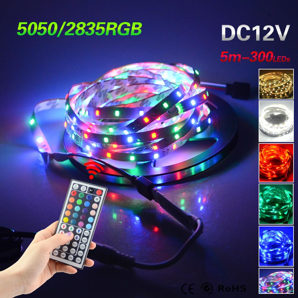 Foxanon LED Strip light 5050 DC12V 5M 300led Flexible RGB 3528 2835 Light Super Brightness Non-waterproof + Remote Controller(China (Mainland))