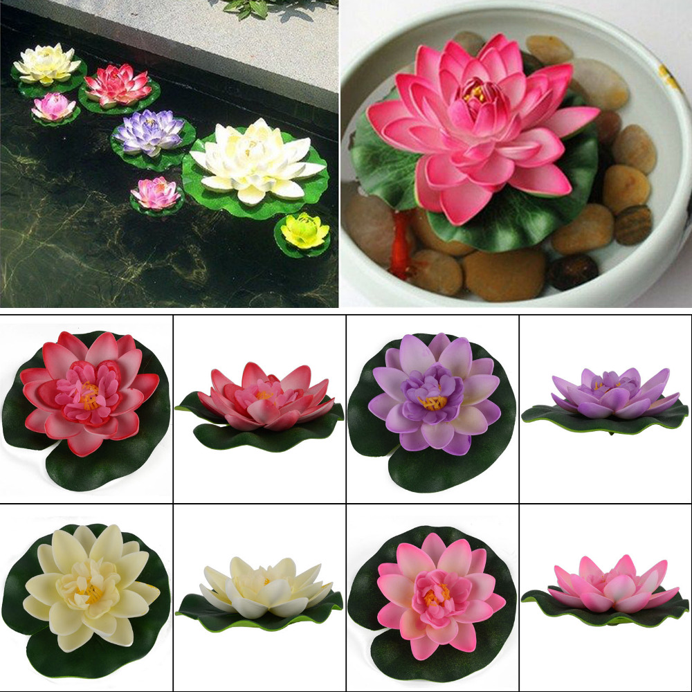 1Pc Artificial Lotus Water lily Floating Flower Garden Pool Pond Tank Plant Ornament Decoration 5 Colors(China (Mainland))