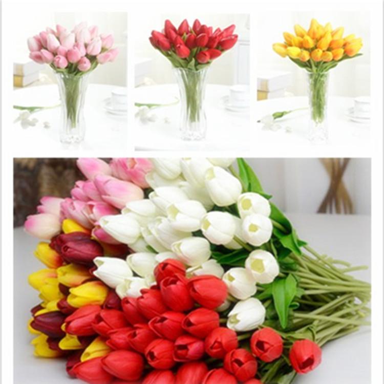 20pcs/lot PU Tulip Artificial 5 Colors Flowers Wedding Home Decorative Flowers Home Decoration Flower (No Vase)(China (Mainland))