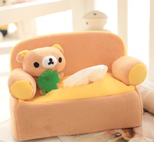 Cute 1pc 24cm cartoon lovely sofa Rilakkuma plush paper towel case Vehicle tissue stuffed toy creative gift