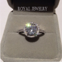 2014 Hearts and Arrows bracts 2ct Real Sterling Silver Ring Imitated Diamond Engagement Rings Wholesale Wedding Jewelry J004(China (Mainland))