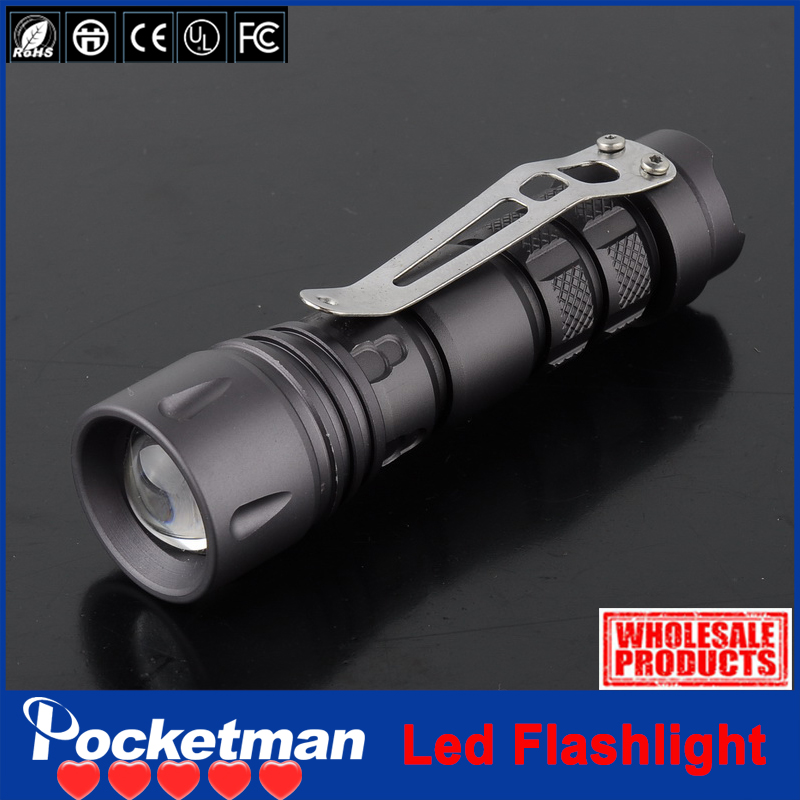 zk91 2000LM High Power CREE XPE-Q5 LED Mini Black Flashlight Camping Hiking Torch Lamps 3 Modes light 1*14500(China (Mainland))