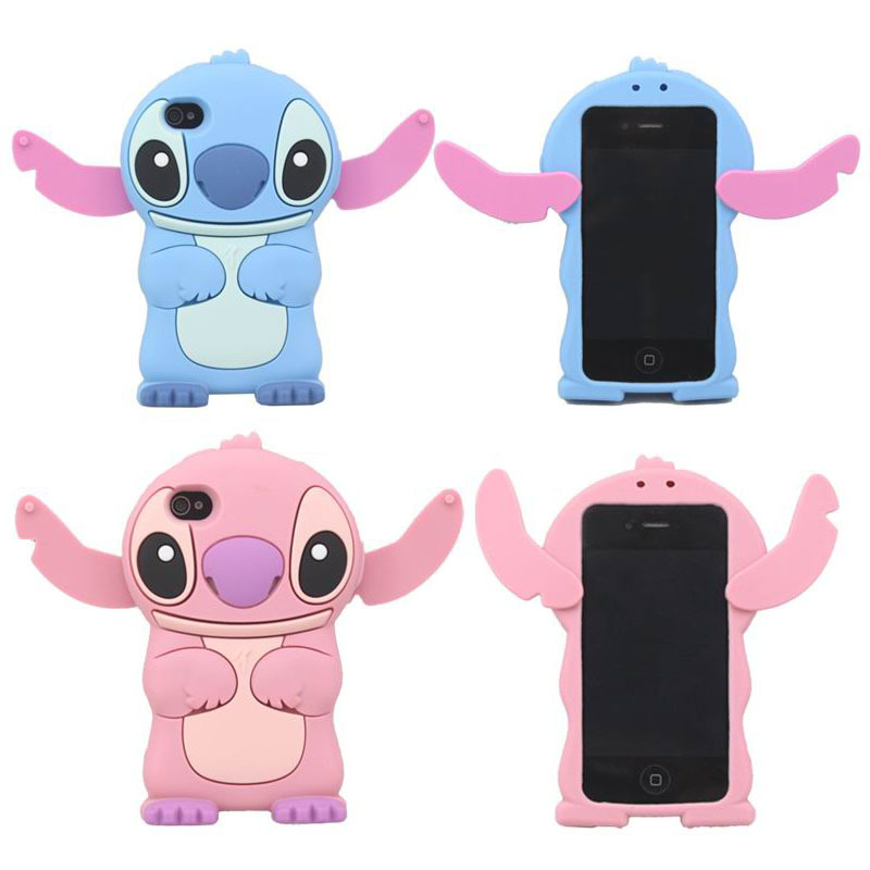 New 3D Lovely Cute Cartoon Stitch Soft Silicon Skin Movable Ear Cover Case for Apple iPhone 4 4S 4G Cell Phone Cases(China (Mainland))