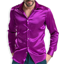 2016 Fashion Shiny Silky Satin Dress Shirt Luxury Silk Like Long Sleeve Mens Casual Shirts Performance wear(China (Mainland))