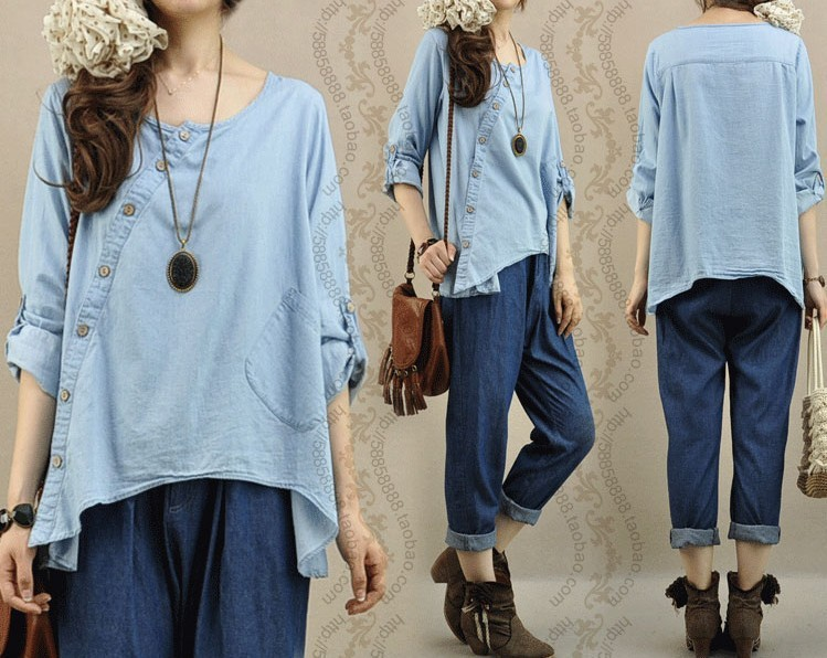 Loose Plus Size Jeans Shirt For Women Partial Placket Irregular Hem Womens Denim Blouses Casual Shirt New 2014 Spring(China (Mainland))