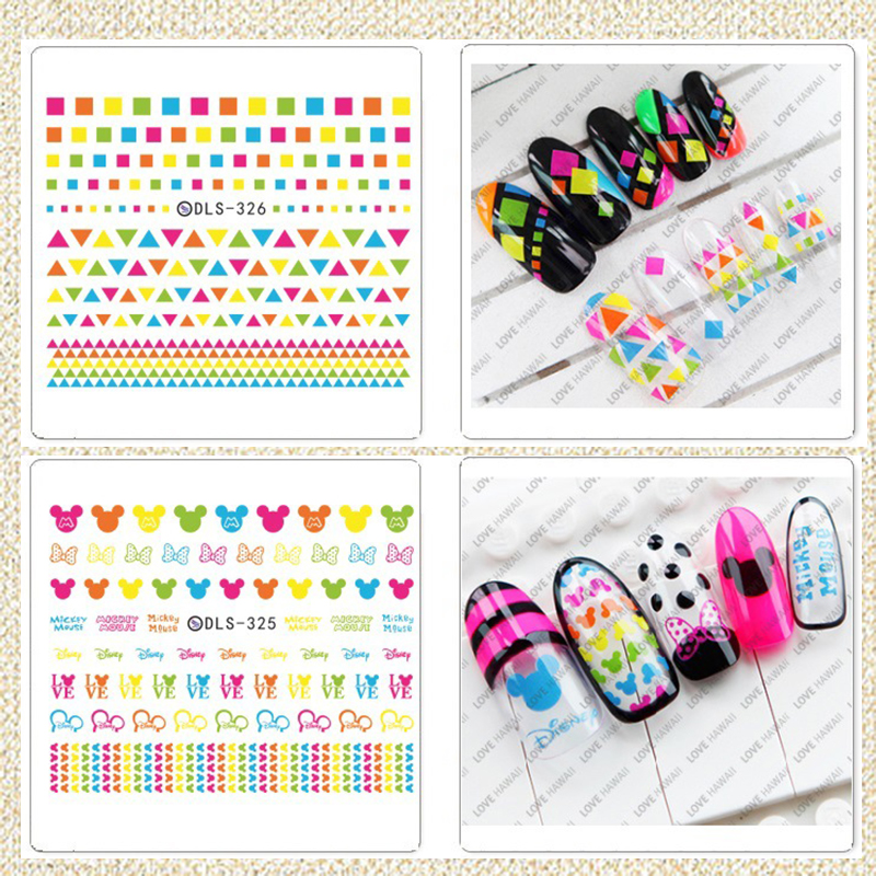 Free shipping water transfer nail sticker decals, color bow Nail Art DIY jewelry female geometry tool of DLS English(China (Mainland))
