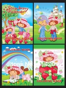 Promotion+ Free Shipping! 21x28cm Strawberry Shortcake-Kids Cartoon Coloring Books/ Stickers & Drawing Book/Kids Gift, 8 pcs/lot