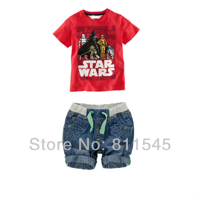 Size 6T Baby Boy Summer Sets 2014 Leisure Kids Suits Red T-shirt + Blue Jeans Shorts Toddler Clothes Bebe Clothing Children Wear(China (Mainland))
