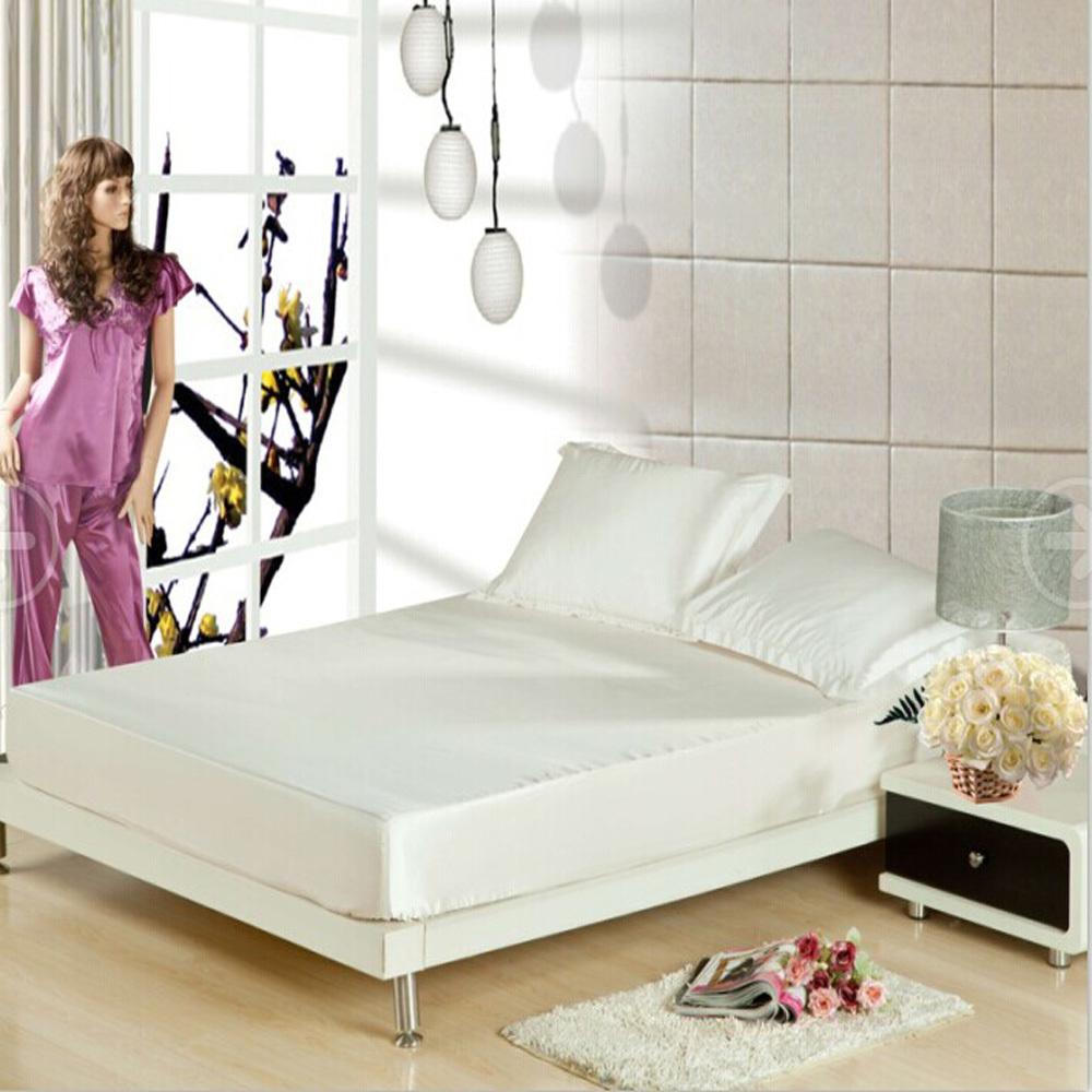 satin de soie quip e draps de lit taie housse de matelas. Black Bedroom Furniture Sets. Home Design Ideas