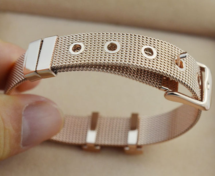 2016 Popular Stainless Steel Watch Strap Bracelet Screen Belt Buckle Bracelet Rose Gold Plated for Men Women h Jewelry(China (Mainland))