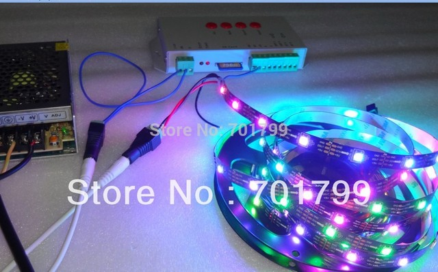 5m DC5V WS2812B led pixel srip,non-waterproof;30leds/m+T-1000S sd controller+5V/60W power supply