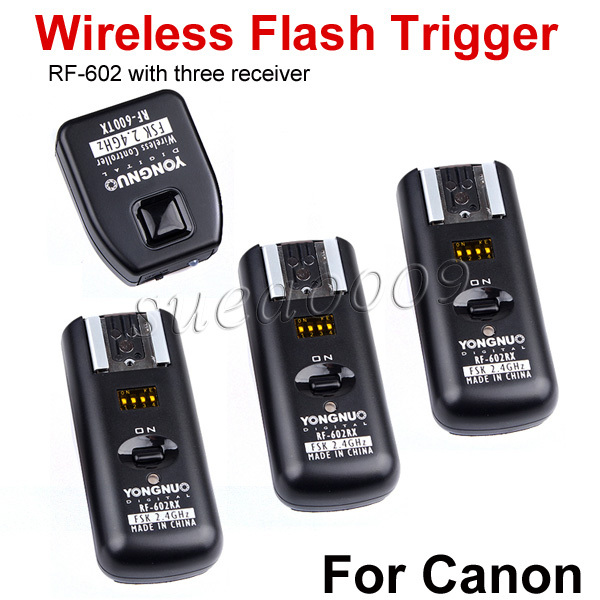Yongnuo RF602 RF-602 2.4GHz Wireless Remote Flash Trigger 1 X Transimitter +3 X Receivers for Canon 1100D/1000D/600D/550D/500D(China (Mainland))