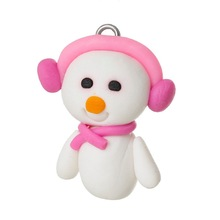 Free Shipping New Arrival 10PCs White Christmas Snowman Polymer Clay Pendant 26x23mm(China (Mainland))