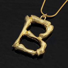 Itenice litery naszyjnik kobiety złoty kolor łańcuch długie naszyjniki duży wisior Boho oświadczenie naszyjnik alfabet biżuteria metalowa(China)