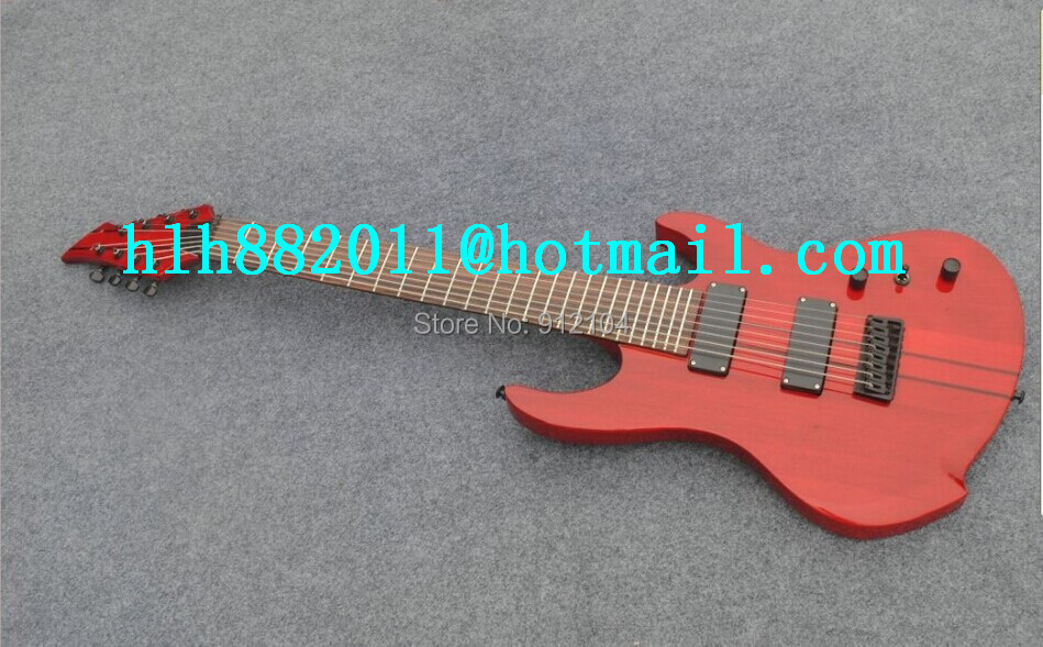 new 8 strings electric guitar with Sandwich in neck and body red electric guitar F-1818+free shipping+foam box