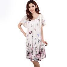 New Fashion Summer Plus Size Female Cotton Silk Women Nightwear Sleepwear Lounge Short Sleeve Floral Nightgown robe(China (Mainland))