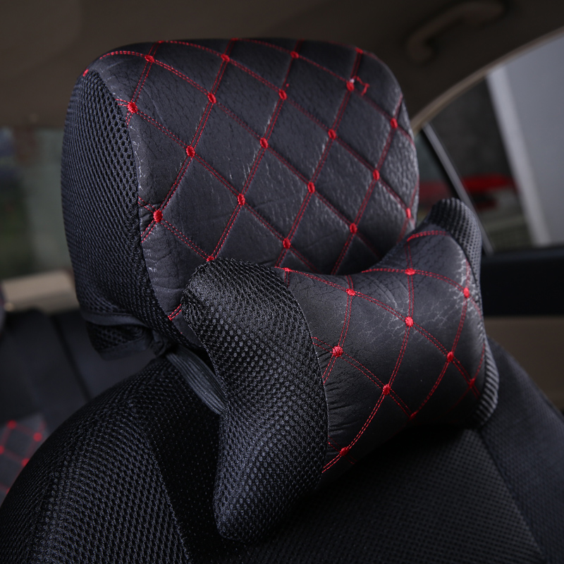 One piece car seat covers cushion headrest Emulation silk seat supports for ford bmw toyota volkswagen Neck Auto Safety Pillow(China (Mainland))