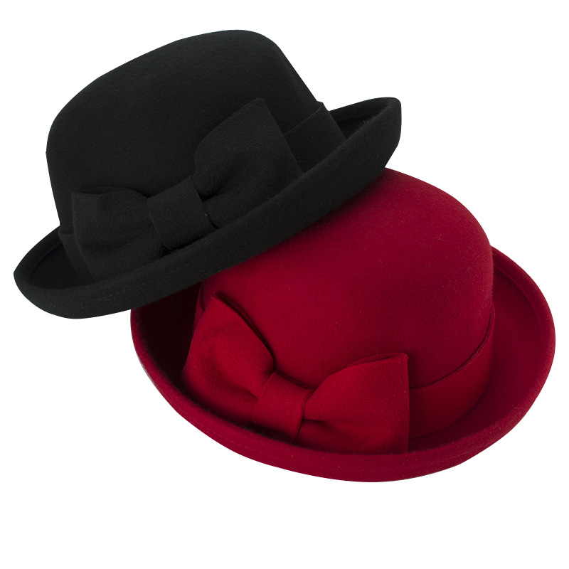 Free Shipping 2016 New Fashion Black Red Big Bow Wool Felt Bowler Hat For Women Lady Party(China (Mainland))