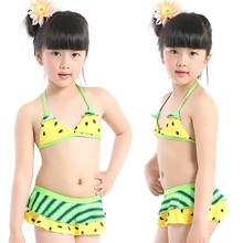 New 2016 summer style baby girls swimwear two-pieces children cute watermelon dot bikini swimsuit kids beach bath suit wear