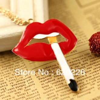 2014 New free Shipping Charm Tops Fashion Jewelery Exaggerated The Lips for Smoking Metal Quality Pendant Necklace for Women(China (Mainland))