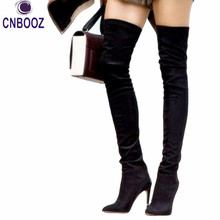 New OliviaPalermo style Winter women Over The knee high boots Long boots Red bottom thigh high woman genuine leather boots(China (Mainland))