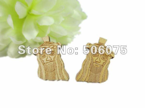 Hiphop jewelry narutal good wood earrings jesus piece earrings