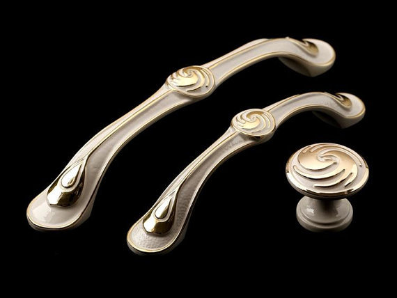 Dresser Drawer Pulls Handles Gold-plated Spiral Ivory white style / Cabinet Handle Pull Knobs / Furniture Decorative Hardware(China (Mainland))