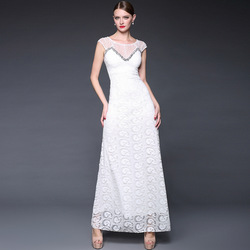 2015 Summer Lace Embroidery Handmade Beading Elegant Long Formal Dress Tulle Evening Dresses
