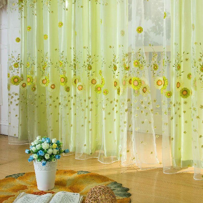 1 PC Door Window Scarf Floral Curtain Drape Panel Voile Valances, voile curtains,Tulle on the window 1m*2m(China (Mainland))