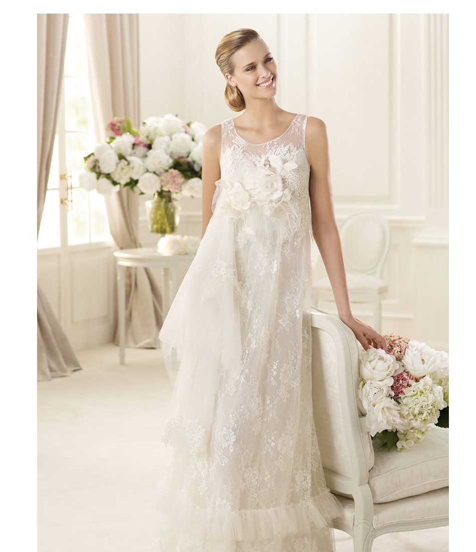 Beautiful sleeveless love forever lace wedding dresses for for Wedding dress for pregnant woman