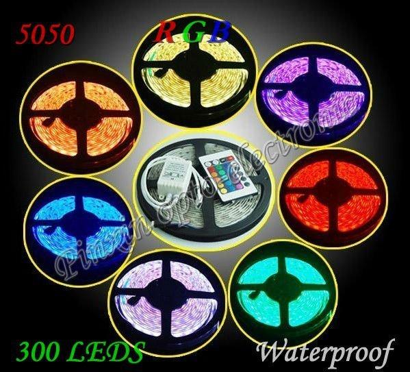 Waterproof  led strip RGB 5050 , 300leds 90M SMD flexible led strip lamp ,5M RGB +1pcs 24 key IR remote ,DC12V 72w free shipping