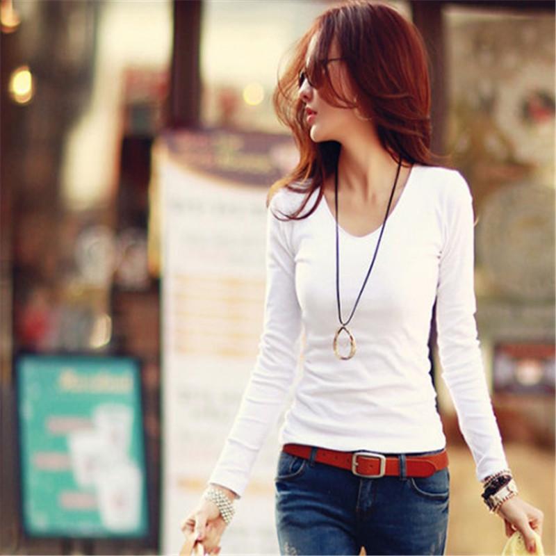 2015 т рубашки женщины хлопок облегающие тонкий свободного покроя с длинным рукавом v шеи сплошной цвет осень одежда белый базовая футболка