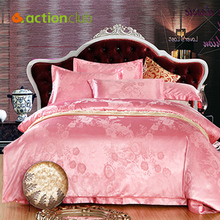 New 2016 High Quality Satin Bedding Sets Brand Hot Sales Wedding Bedding Sets Home Supplies Satin Bed Sets Free Shipping HBS047(China (Mainland))
