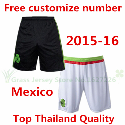 HOT! Top Thailand Quality 2015 2016 Mexico soccer Shorts home black Football short away white Free Customize Free shipping 15 16(China (Mainland))
