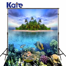 Kate scenery bcakgrounds photography islands underwater world fotografia digital fish backdrops for studio(China (Mainland))