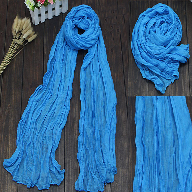 2015 Brand Silk Scarves Solid Candy Color Elegant Women Soft Wrap Shawl Long Stole Spring Winter