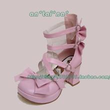 Princess sweet lolita shoes gothic Tai na cos punk bow dress high-heeled 9817 pink custom 3-5days PU - Loliloli shop for Lolita store