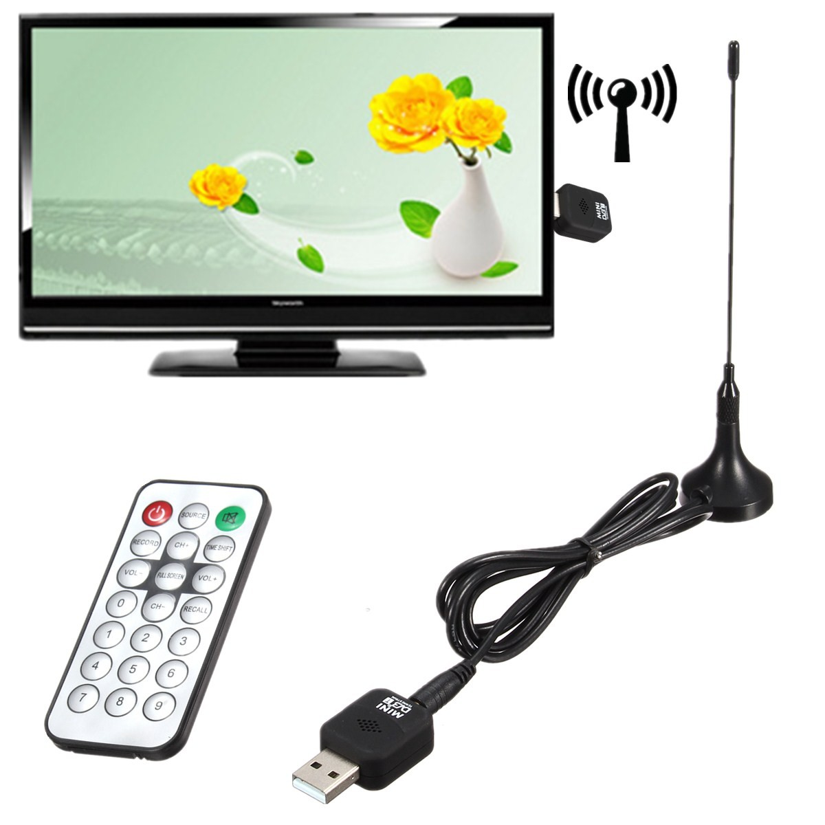 DVB-T Micro USB Tuner Mobile TV Receiver Stick Digital Tv Tuner For Windows 2000 / XP / Vista 32Bit / Win 7(China (Mainland))