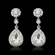 New Brand Fashion Crystal Jewelry Big Platinum Plated Dangle Water Drop Earrings For Women(China (Mainland))