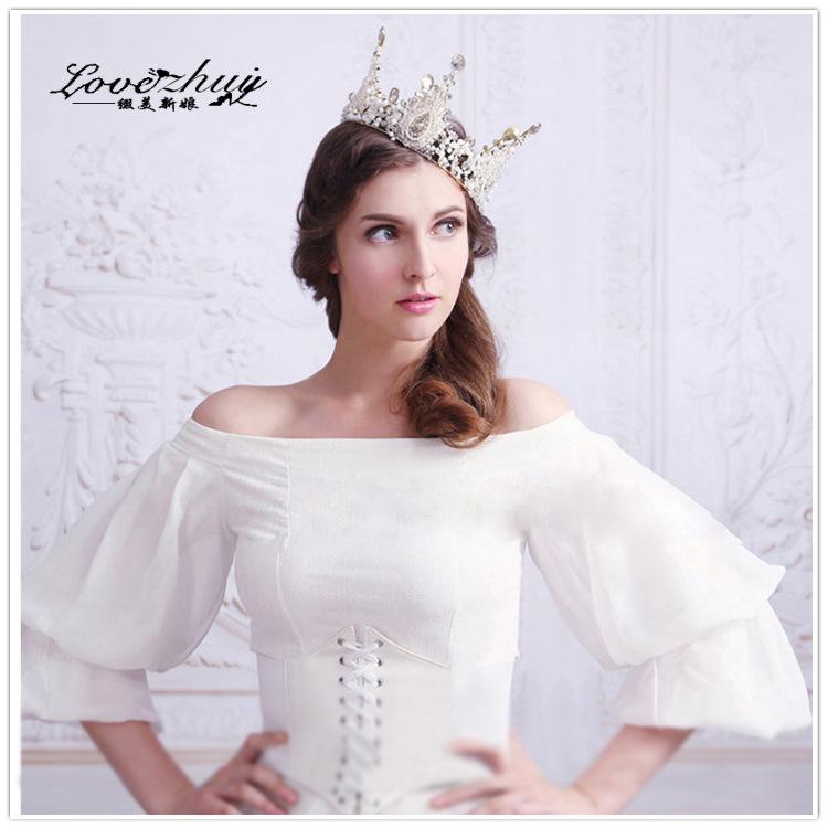 White Beads Elegant Bridal Tiara Handmade Headpiece Crystal Pearl Wedding Prom Headband Hair Jewerly(China (Mainland))