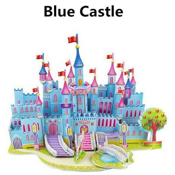 Cartoon Castle 3D Paper Model DIY Jigsaw Puzzle Wisdom Jigsaw Children Kids Baby Educational Toys(China (Mainland))