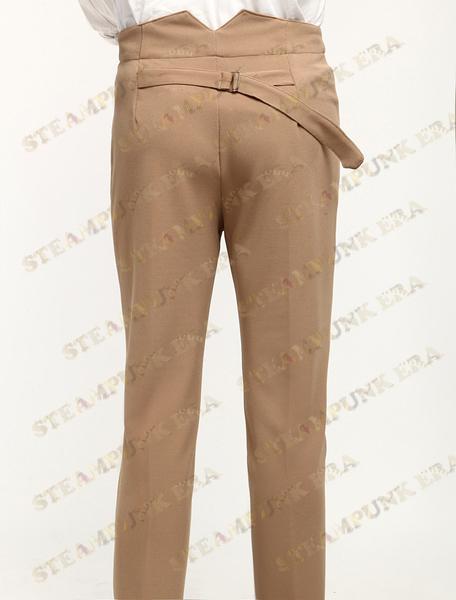 Popular Camel Cotton Fabrics Mens Steampunk Trousers