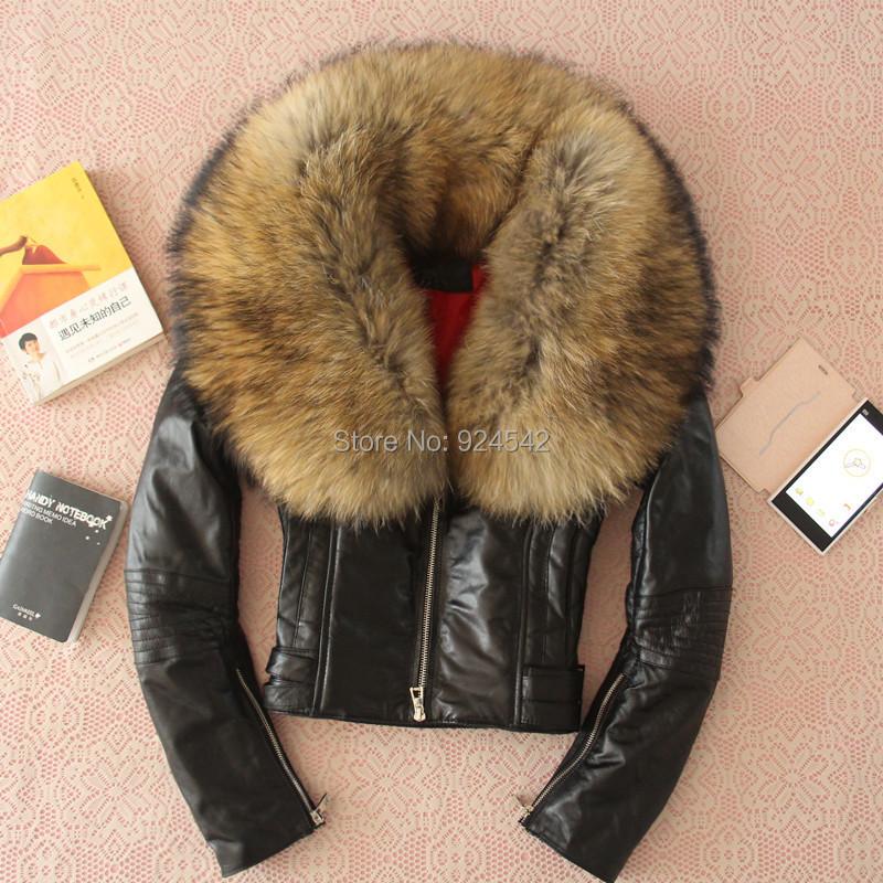 2015 мода супер-большой мех енота овчины мотоциклов натуральной кожи одежда женская шуба реальная кожаная куртка